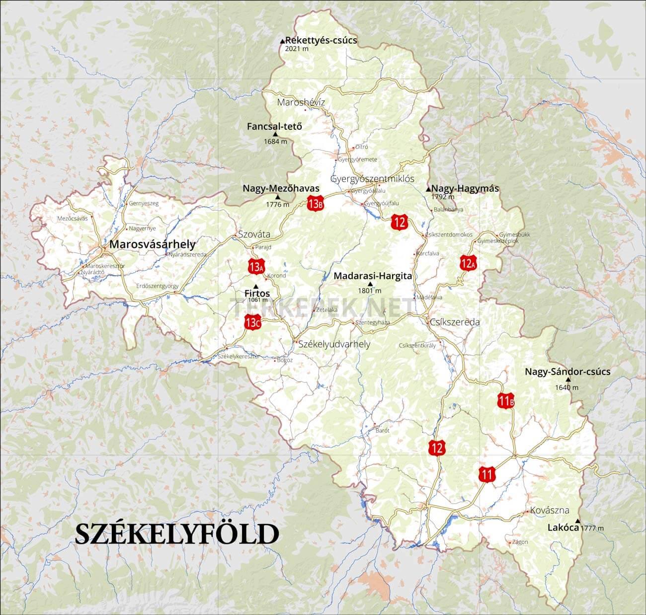 erdély domborzati térkép magyarul Székelyföld domborzati térképe erdély domborzati térkép magyarul